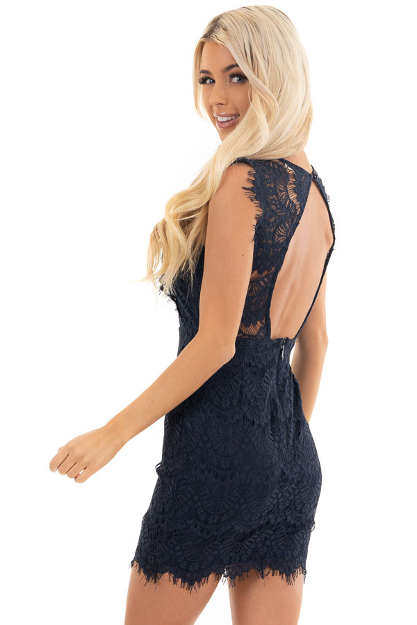 Navy Sleeveless Open Back Lace Dress with Scalloped Edges back side close up