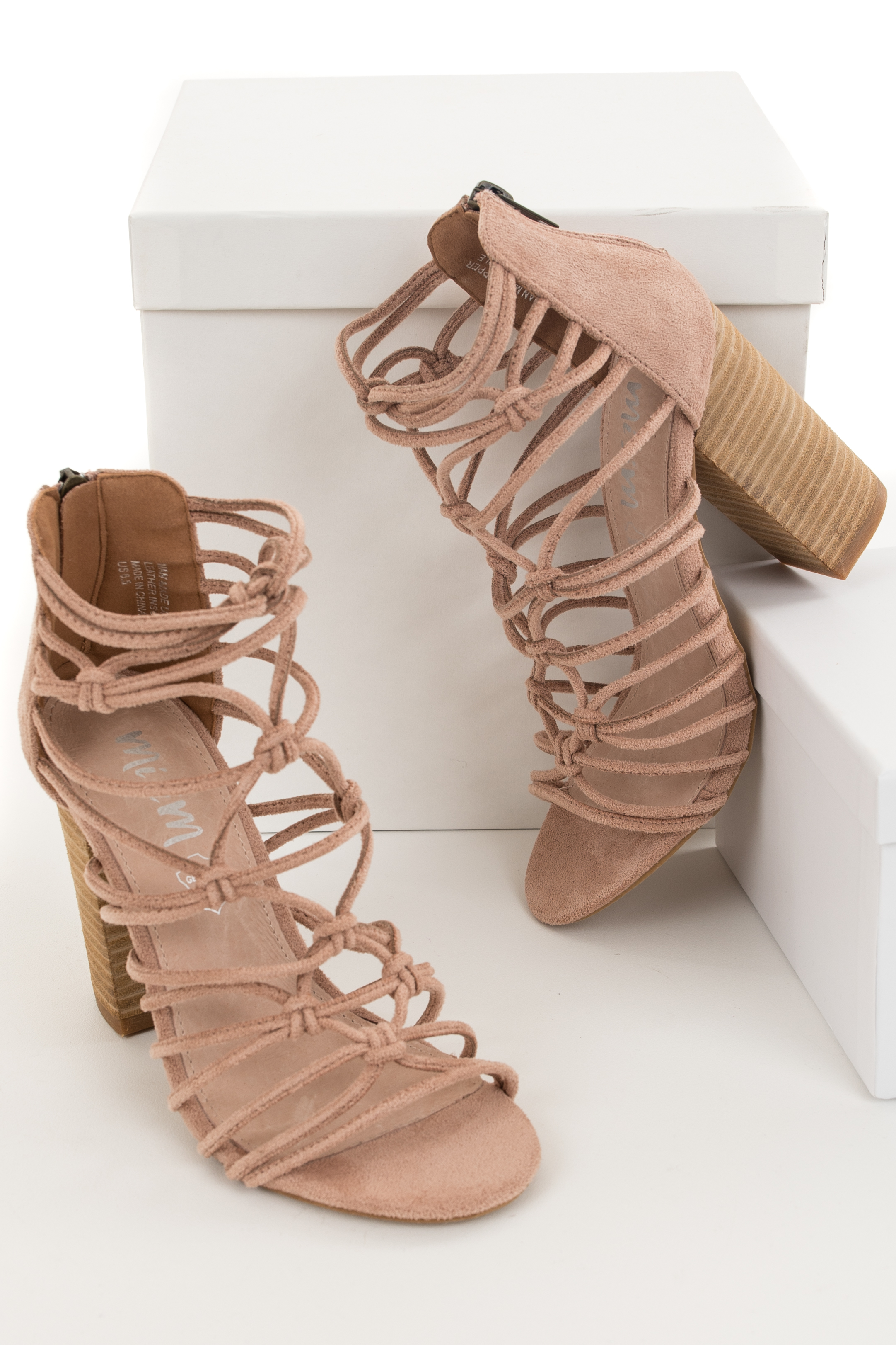 Rose Faux Suede High Heels with Knot and Strap Details