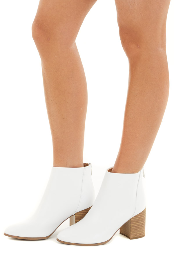 Pearl Faux Leather Pointed Toe Chunky High Heel Booties side view