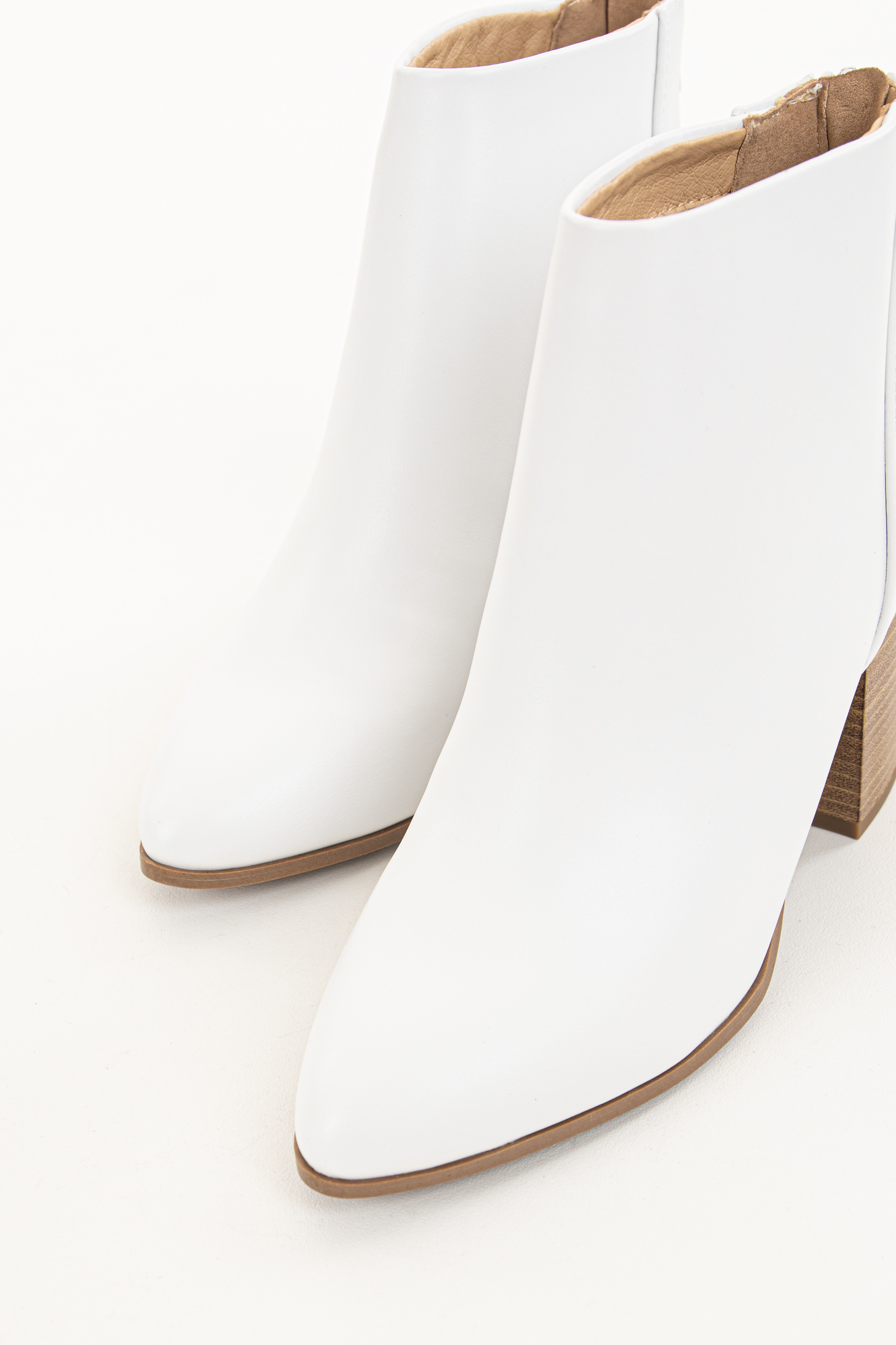 Pearl Faux Leather Pointed Toe Chunky High Heel Booties