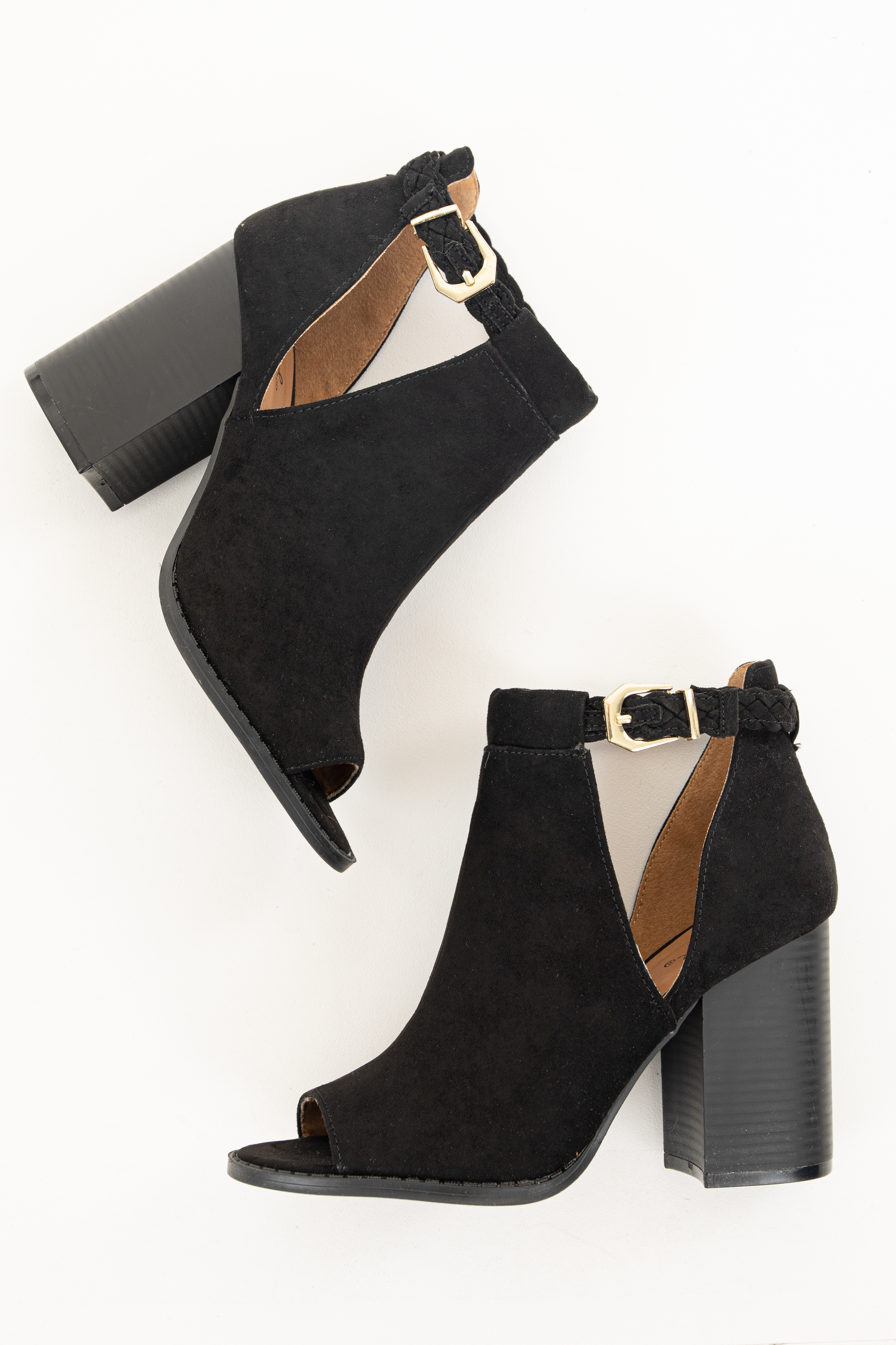 Black Faux Suede Open Toed Heels with Braided Strap Detail