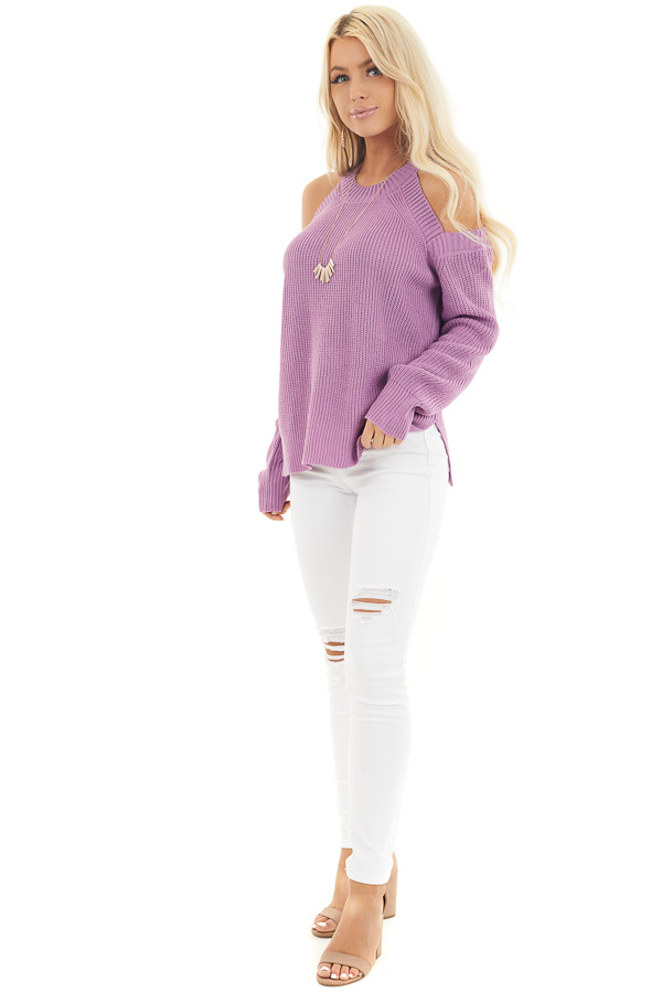 Lilac Long Sleeve Ribbed Sweater Top with Cold Shoulders front full body