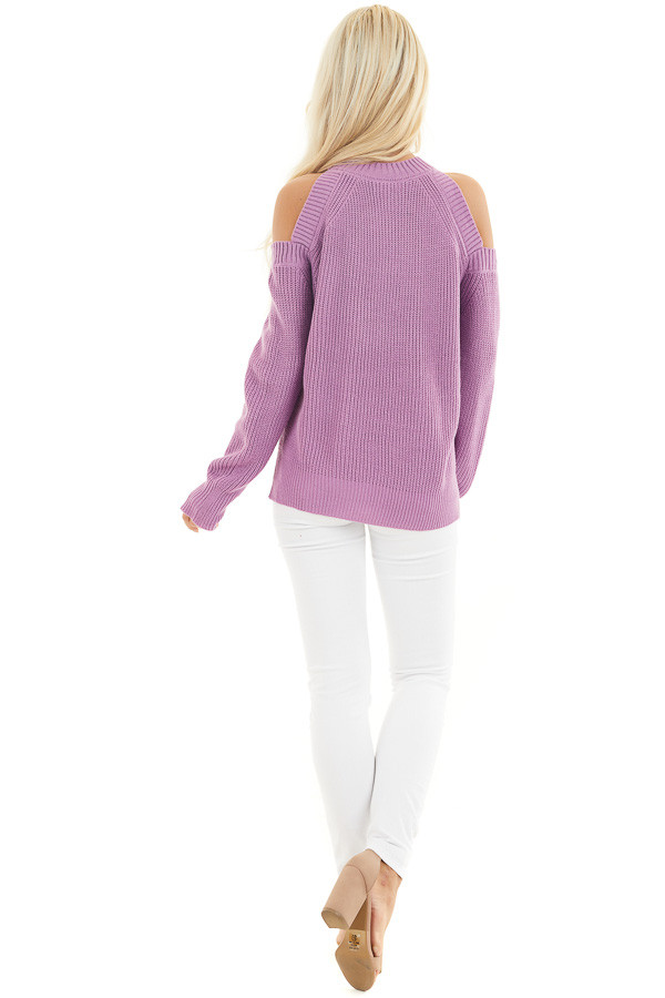 Lilac Long Sleeve Ribbed Sweater Top with Cold Shoulders back full body