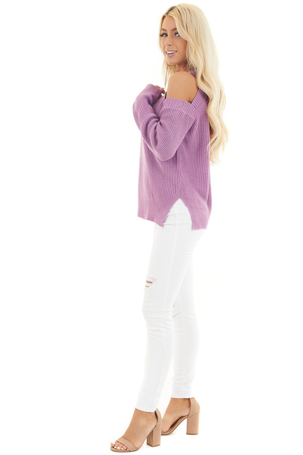Lilac Long Sleeve Ribbed Sweater Top with Cold Shoulders side full body