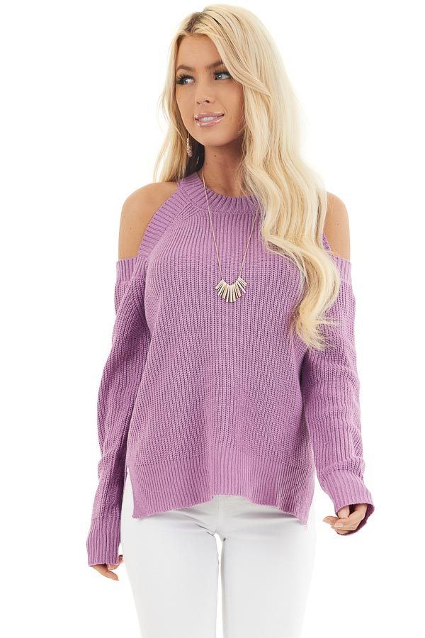 Lilac Long Sleeve Ribbed Sweater Top with Cold Shoulders front close up