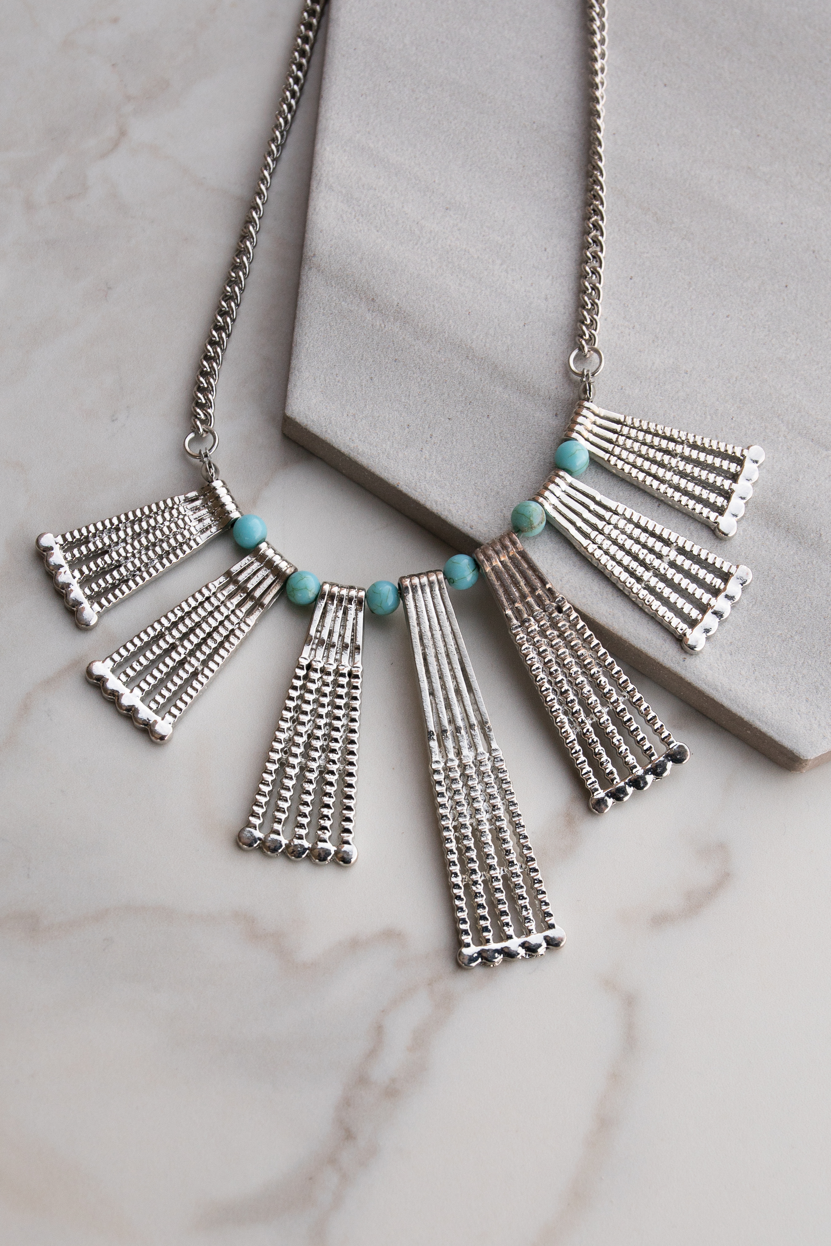Silver Statement Necklace With Turquoise Bead Details