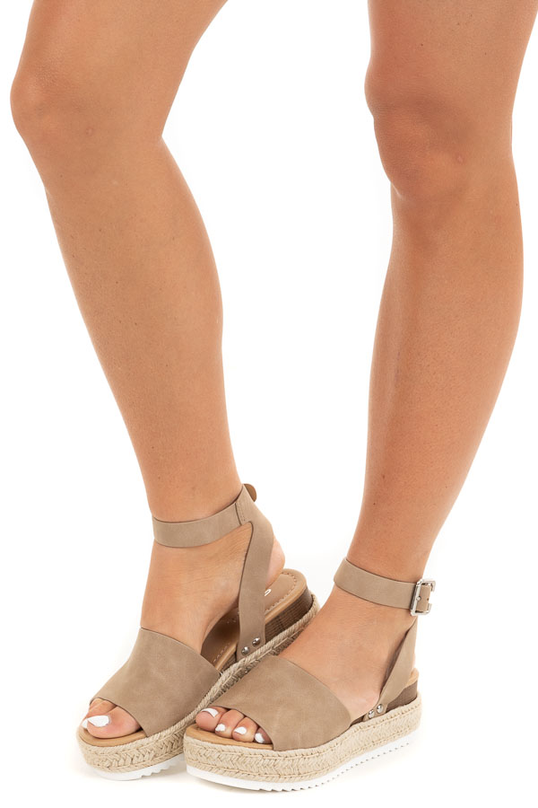 Latte Brown Espadrille Platform Sandals with Ankle Strap side view