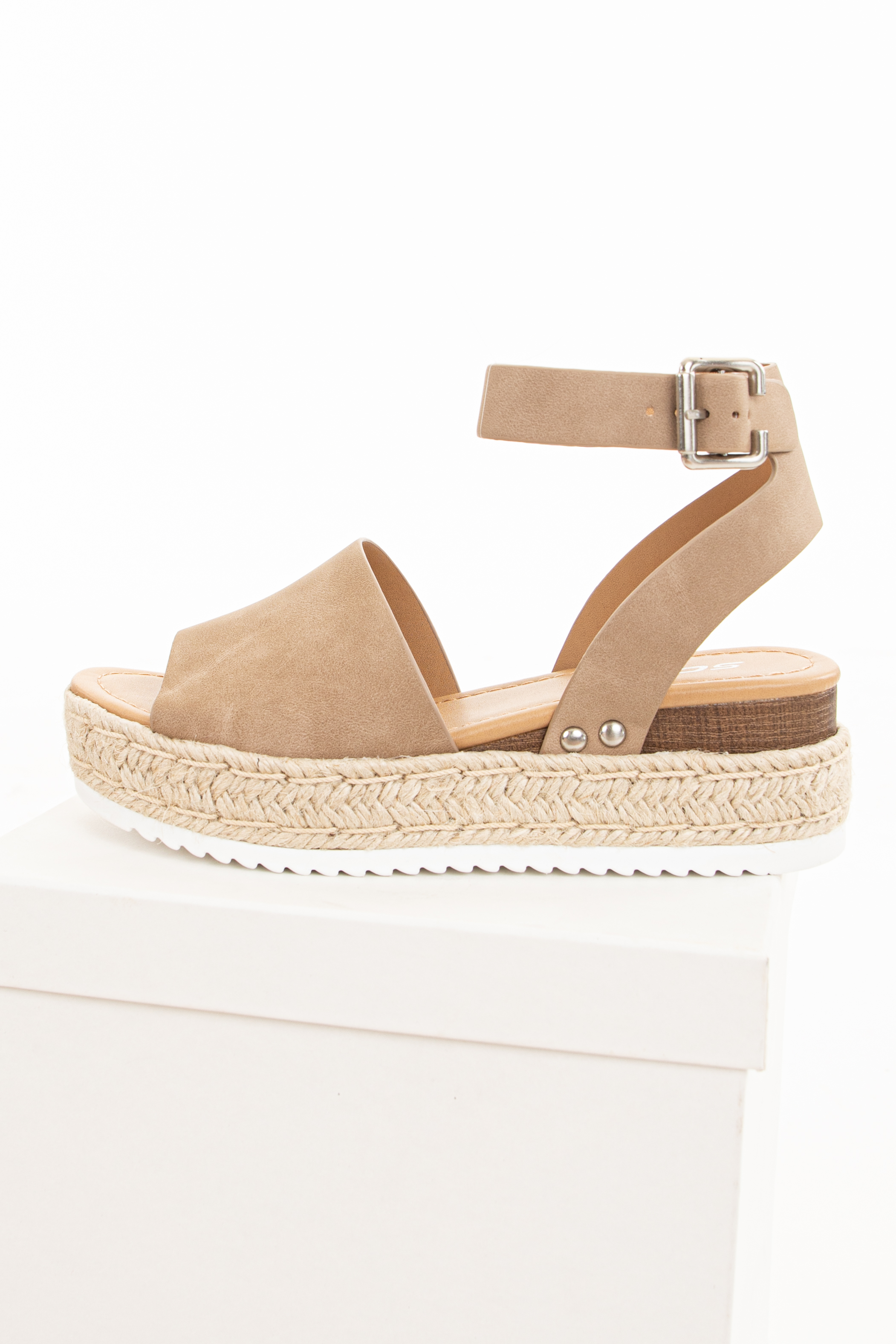 Latte Brown Espadrille Platform Sandals with Ankle Strap