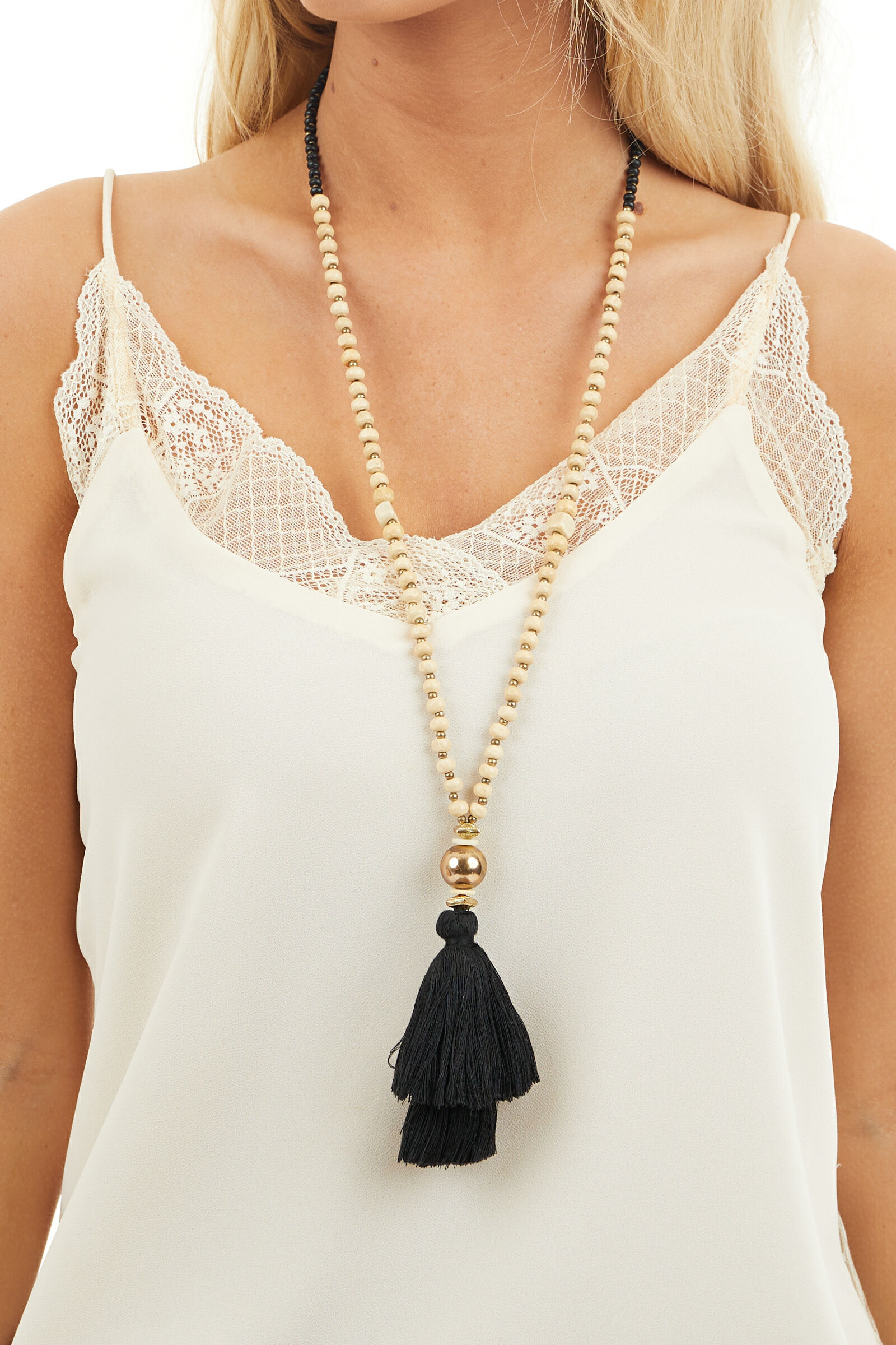 Black and Tan Wood Bead Necklace with Tassel Detail
