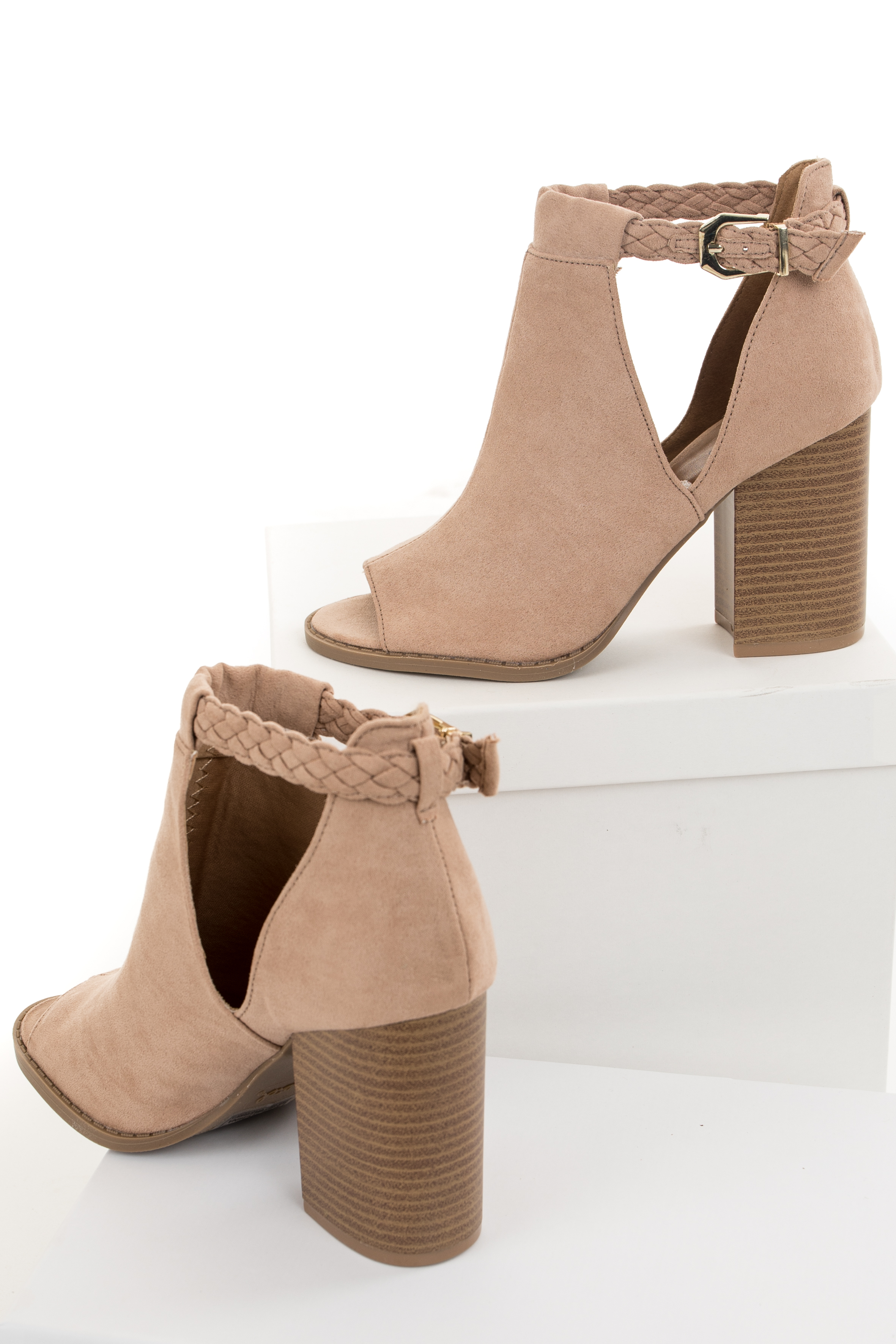 Tan Faux Suede Open Toed Heels with Braided Strap Detail