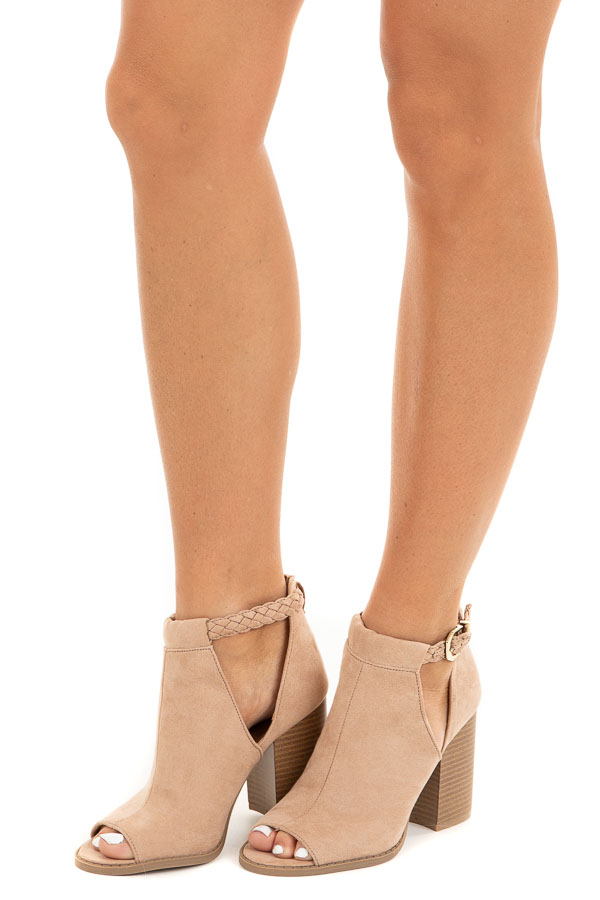 Tan Faux Suede Open Toed Heels with Braided Strap Detail side view