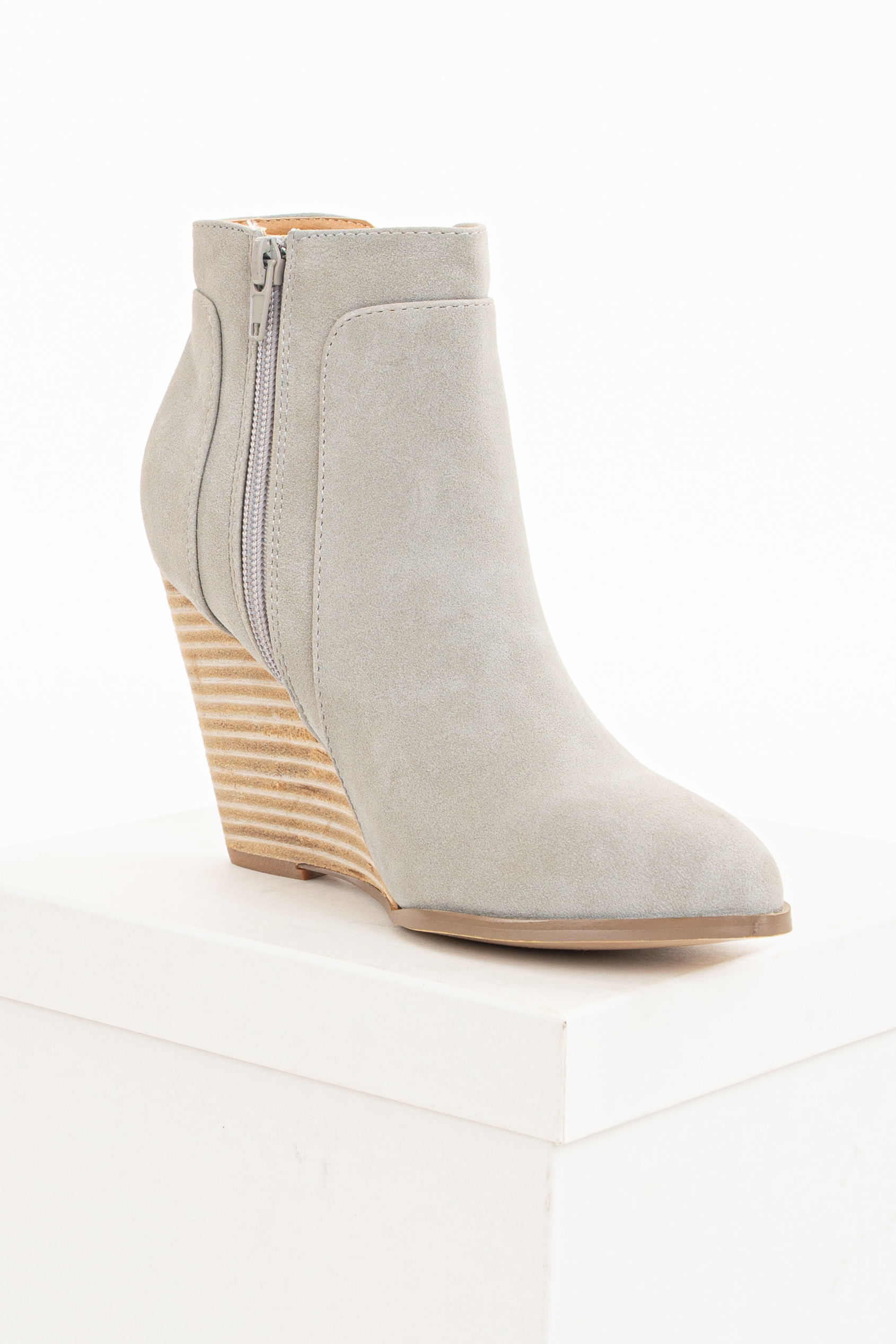Clay Grey Faux Suede Stacked Wedge Bootie