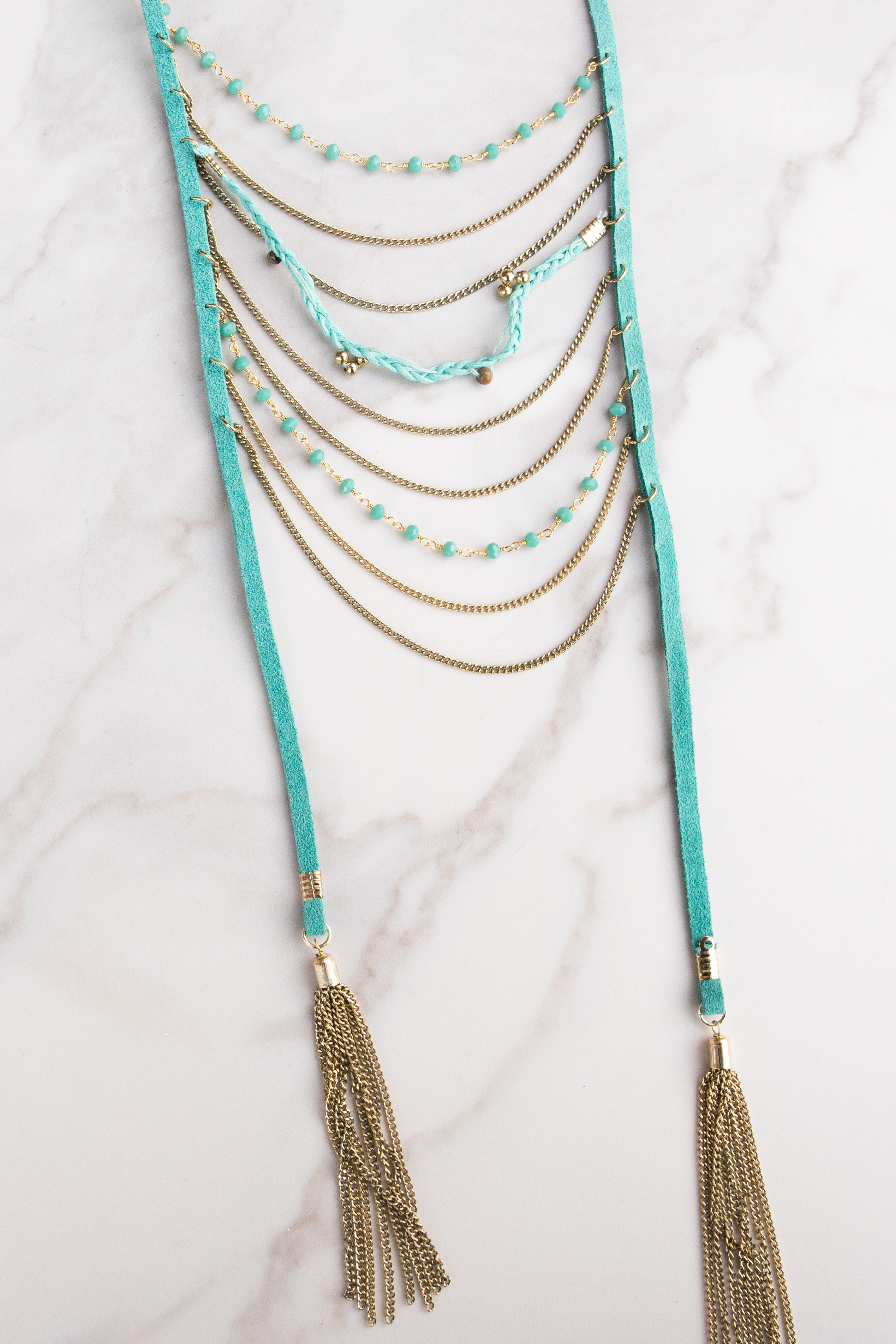 Turquoise Faux Suede Layered Necklace with Gold Tassels