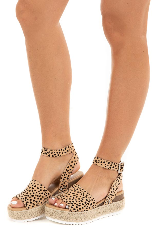 Nude Cheetah Espadrille Platform Sandals with Ankle Strap side view