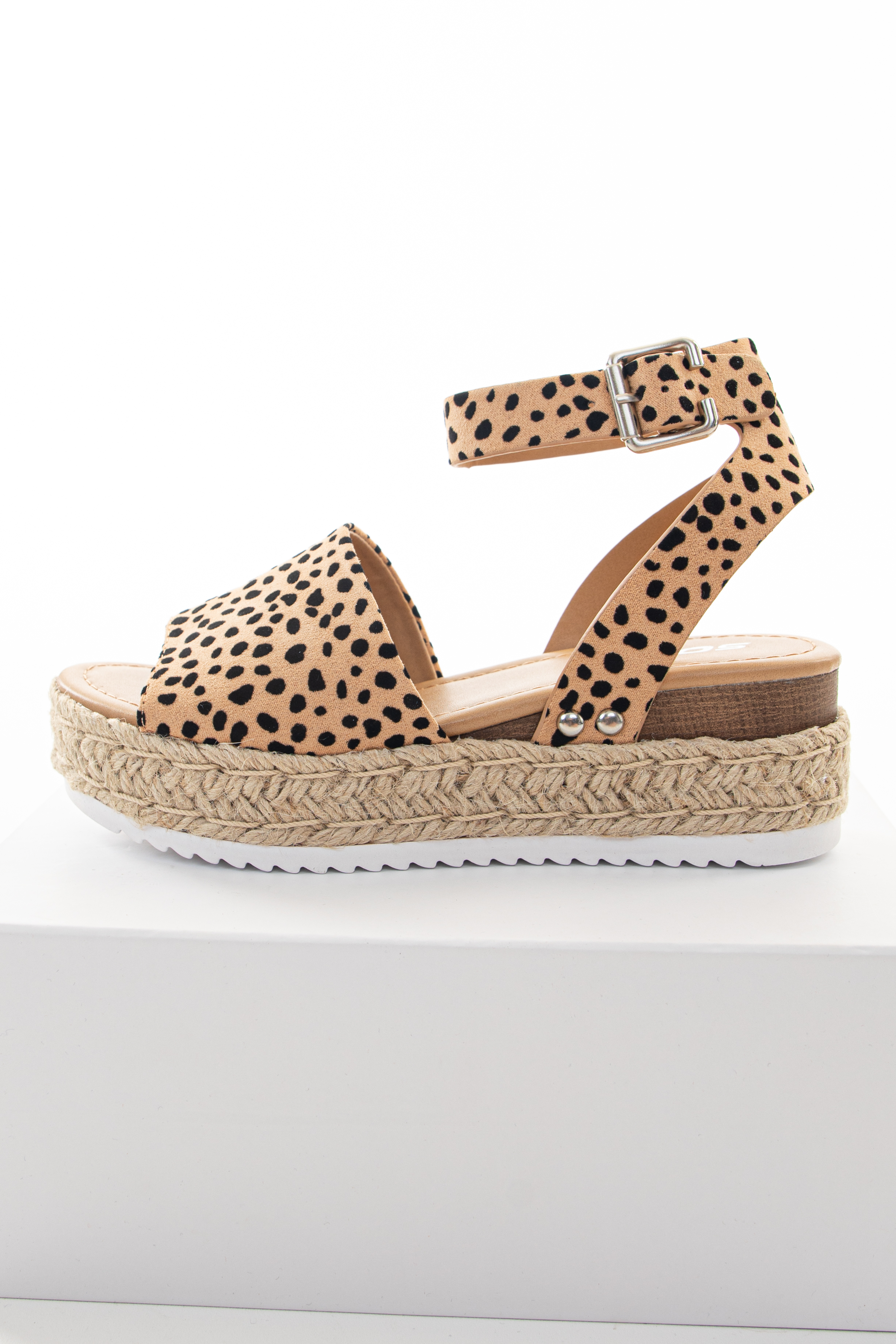 Nude Cheetah Espadrille Platform Sandals with Ankle Strap