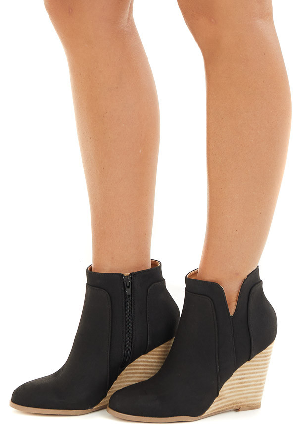 Black Faux Suede Stacked Wedge Bootie