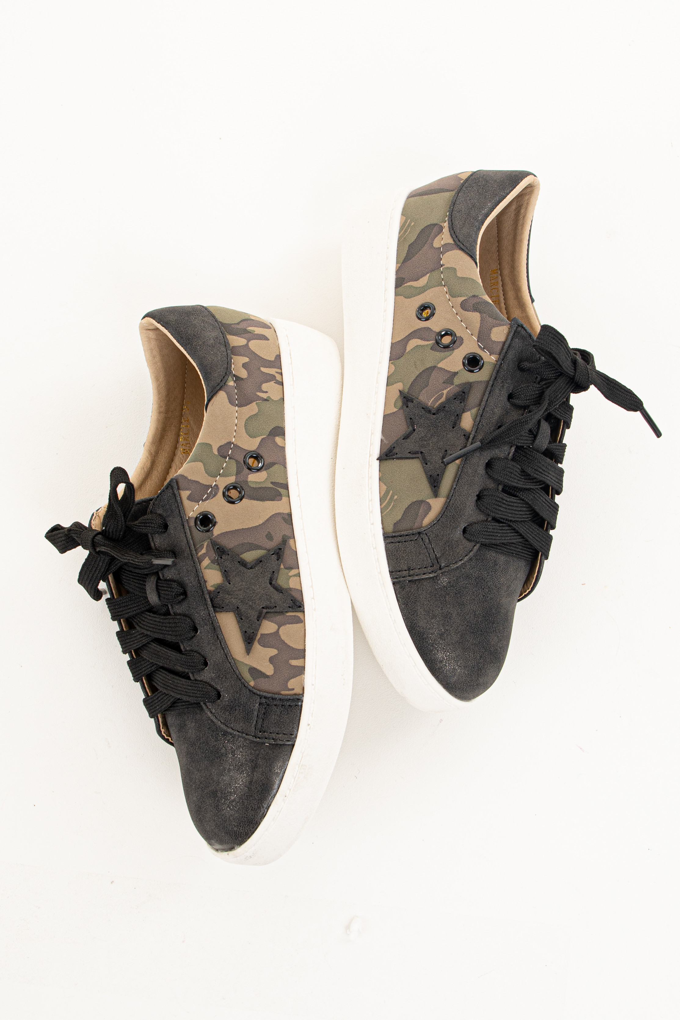 Black and Camo Print Lace Up Sneakers with Star Detail