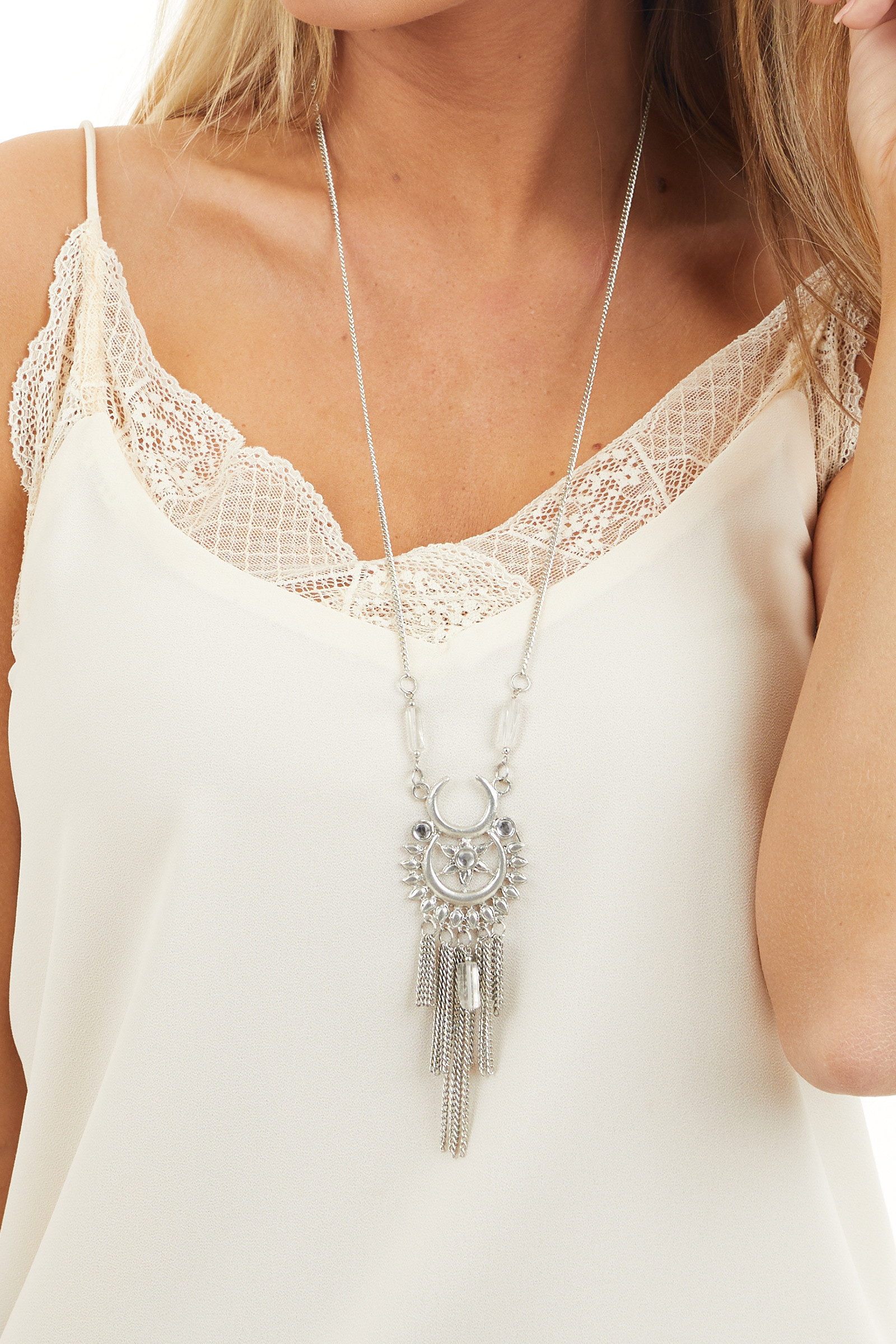 Silver Chain Necklace with Statement Pendant and Crystals