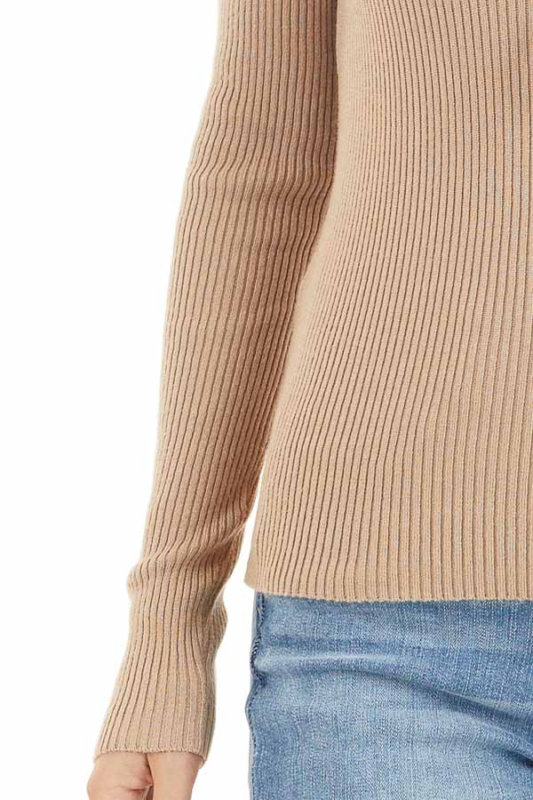Beige Ribbed Knit Top with V Neckline and Long Sleeves detail
