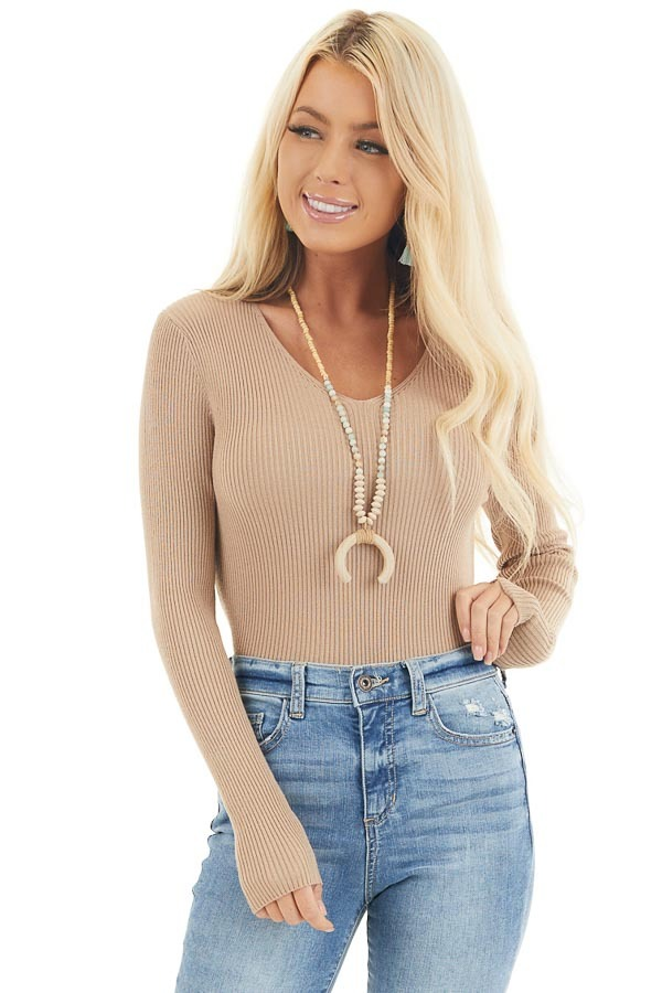 Beige Ribbed Knit Top with V Neckline and Long Sleeves front close up