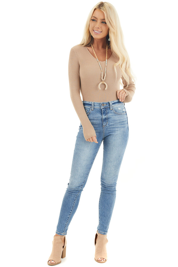 Beige Ribbed Knit Top with V Neckline and Long Sleeves front full body