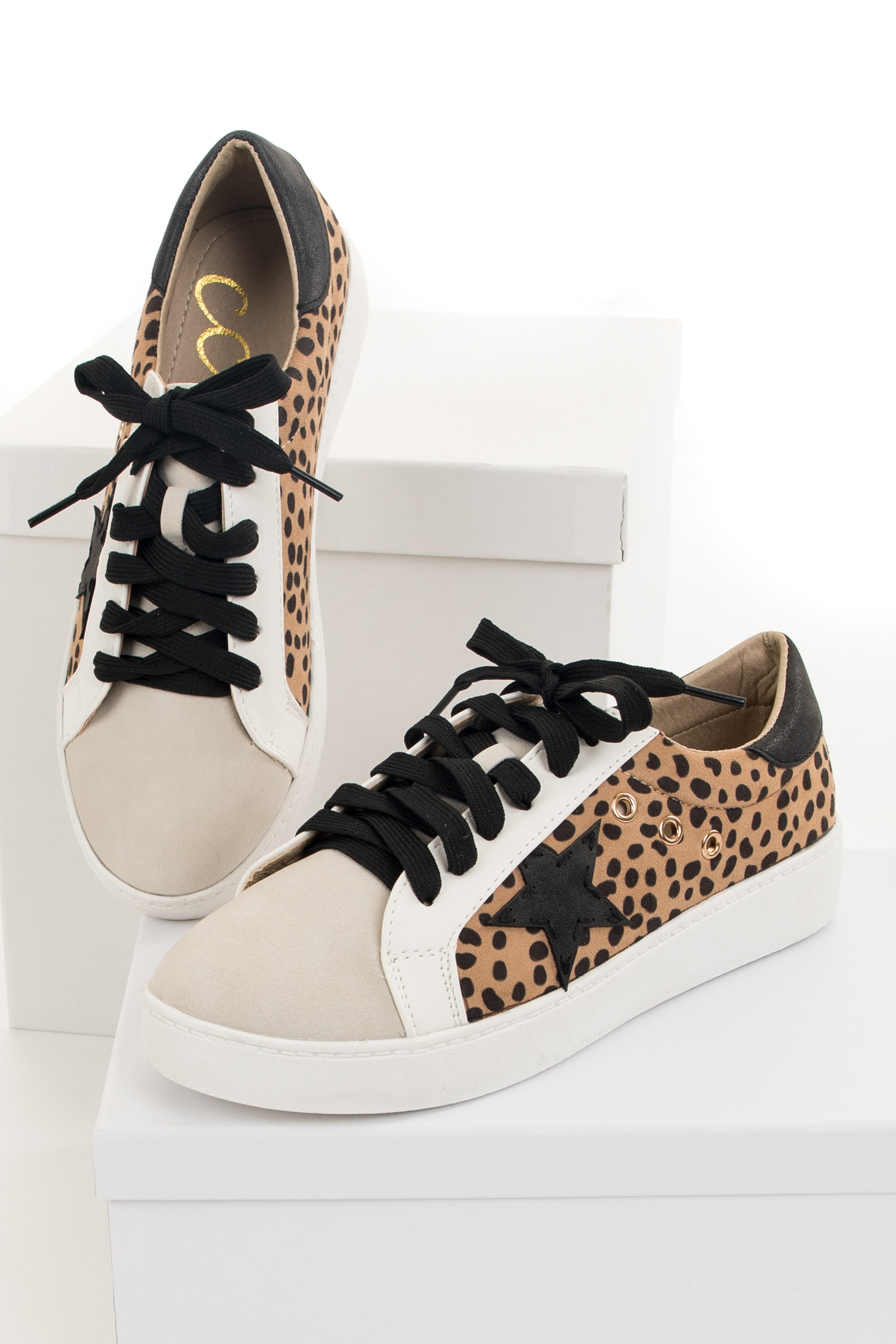 Ivory and Cheetah Print Lace Up Sneakers with Star Detail
