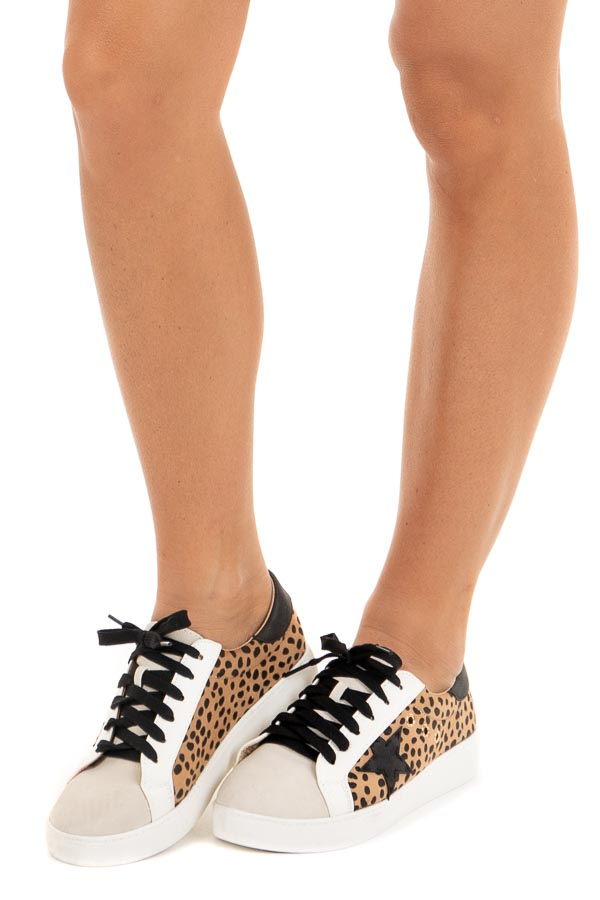 Ivory and Cheetah Print Lace Up Sneakers with Star Detail side view