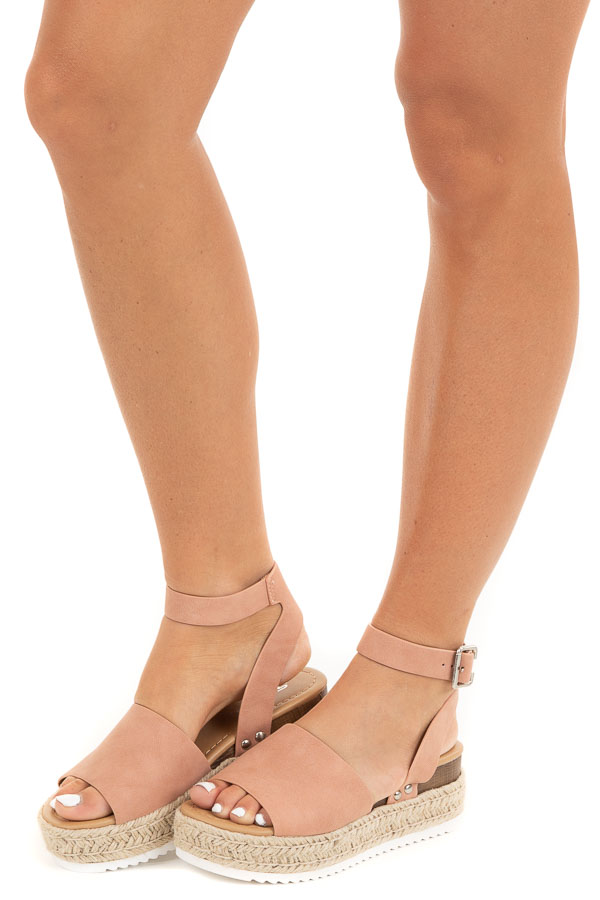 Peach Espadrille Platform Sandals with Ankle Strap side view