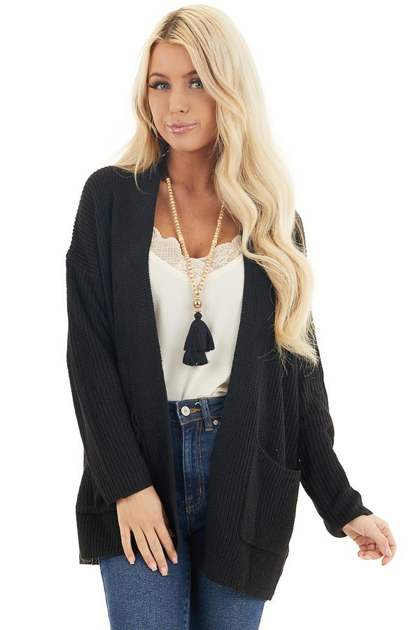 Black Open Front Lightweight Knit Cardigan with Pockets front close up