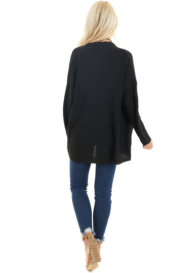 Black Open Front Lightweight Knit Cardigan with Pockets back full body