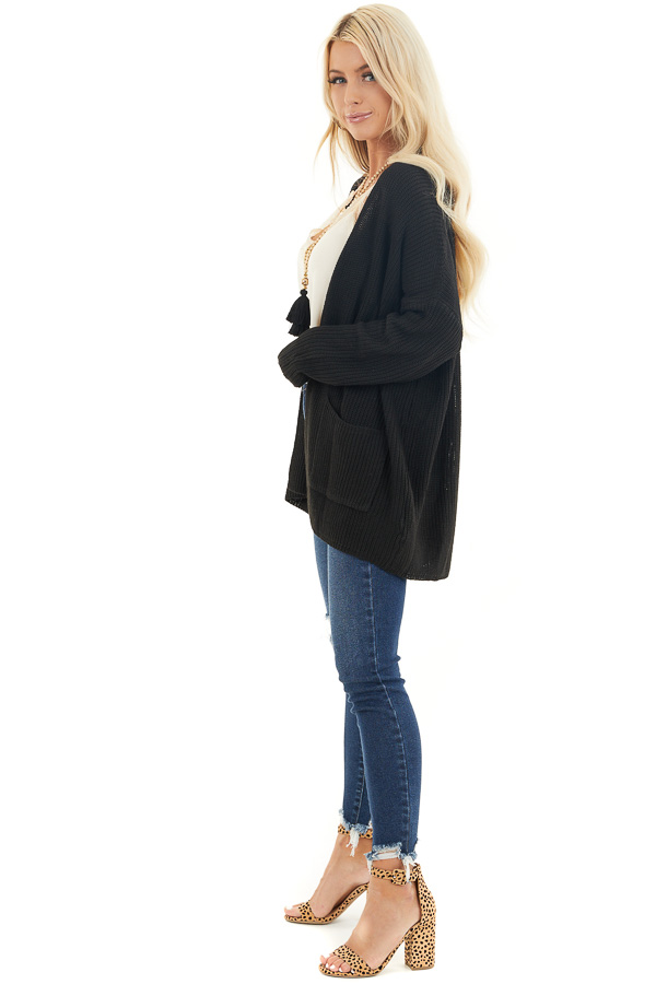 Black Open Front Lightweight Knit Cardigan with Pockets side full body