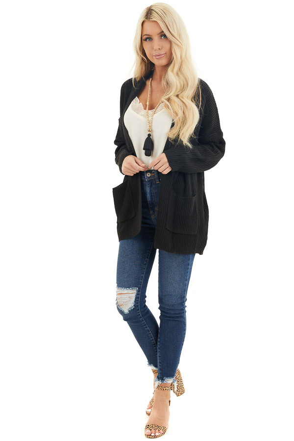 Black Open Front Lightweight Knit Cardigan with Pockets front full body