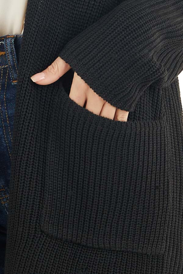 Black Open Front Lightweight Knit Cardigan with Pockets detail