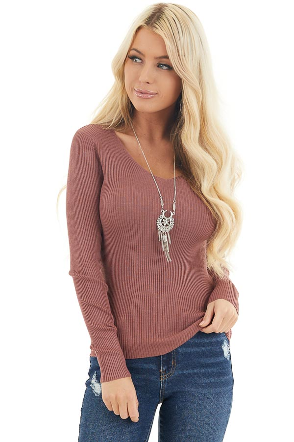 Marsala Ribbed Knit Top with V Neckline and Long Sleeves front close up