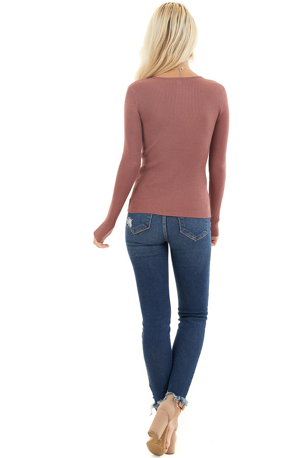 Marsala Ribbed Knit Top with V Neckline and Long Sleeves back full body