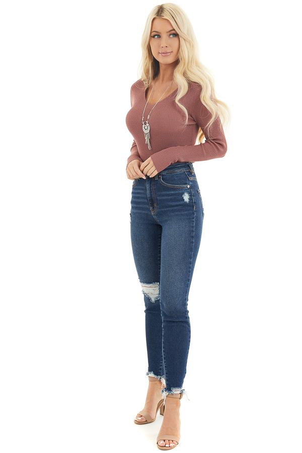 Marsala Ribbed Knit Top with V Neckline and Long Sleeves front full body