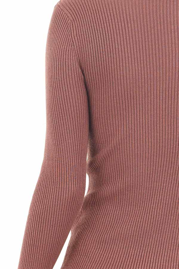 Marsala Ribbed Knit Top with V Neckline and Long Sleeves detail