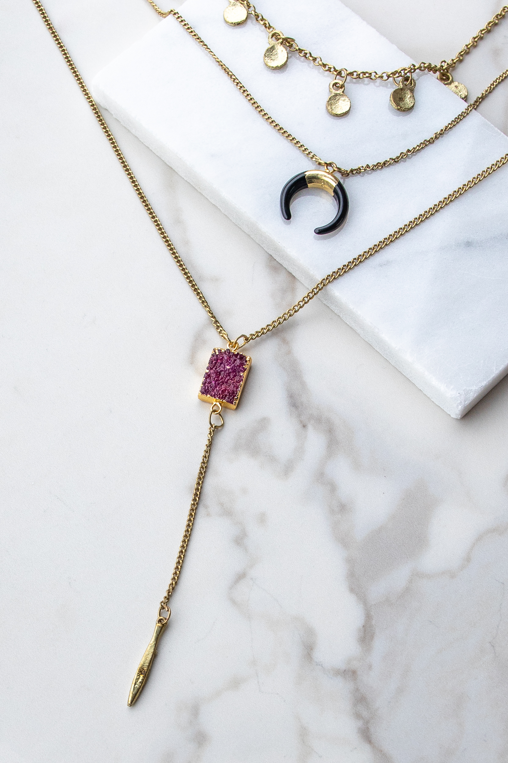 Gold Tiered Necklace with Crescent Pendant and Druzy Stone