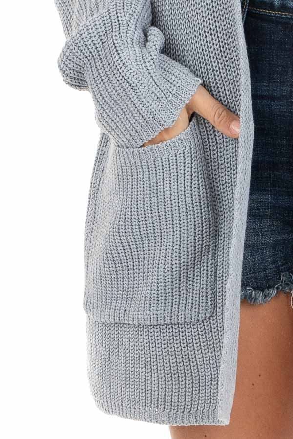 Dove Grey Open Front Lightweight Knit Cardigan with Pockets detail