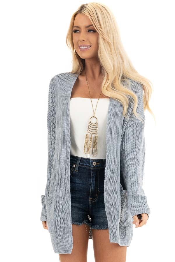 Dove Grey Open Front Lightweight Knit Cardigan with Pockets front close up