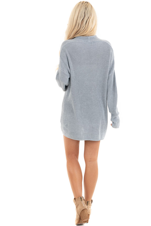 Dove Grey Open Front Lightweight Knit Cardigan with Pockets back full body