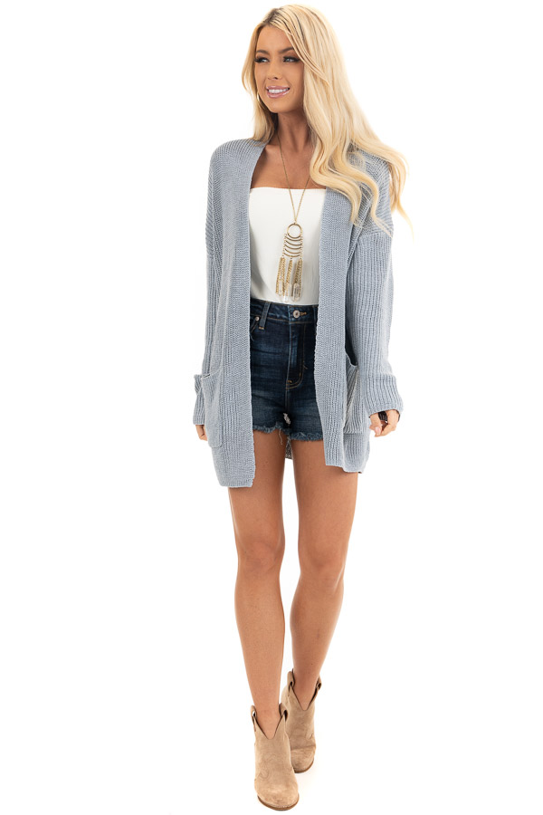 Dove Grey Open Front Lightweight Knit Cardigan with Pockets front full body