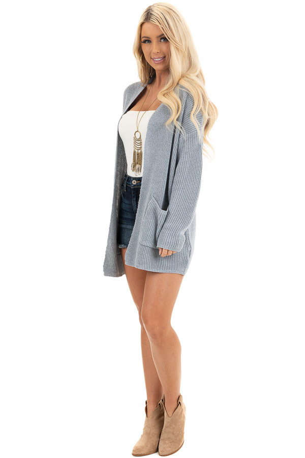 Dove Grey Open Front Lightweight Knit Cardigan with Pockets side full body