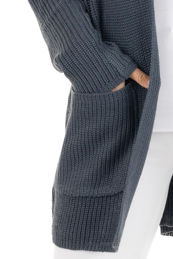 Dark Slate Open Front Lightweight Knit Cardigan with Pockets detail