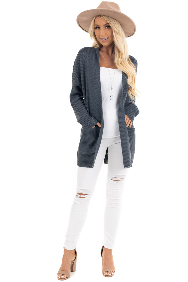 Dark Slate Open Front Lightweight Knit Cardigan with Pockets front full body