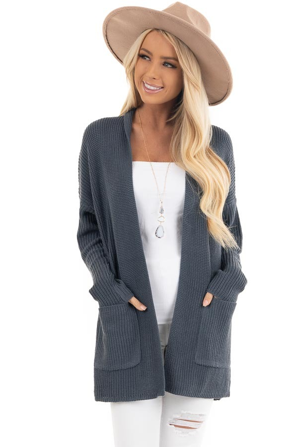 Dark Slate Open Front Lightweight Knit Cardigan with Pockets front close up