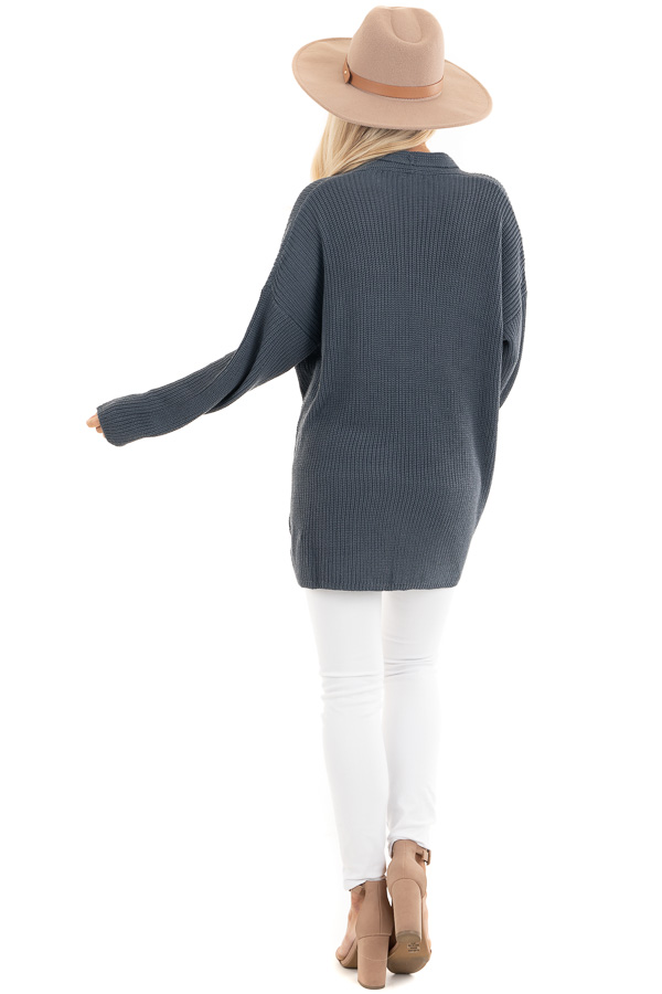 Dark Slate Open Front Lightweight Knit Cardigan with Pockets back full body