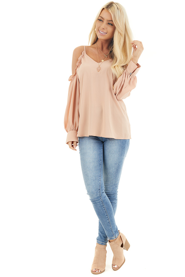 Apricot Cold Shoulder Long Sleeve Blouse with Ruffle Detail front full body