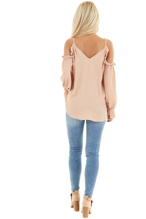 Apricot Cold Shoulder Long Sleeve Blouse with Ruffle Detail back full body