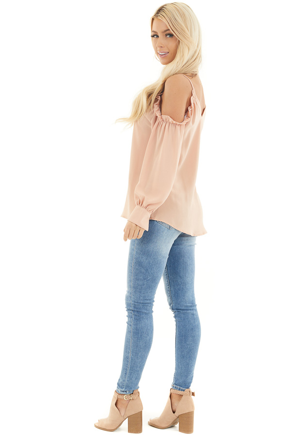 Apricot Cold Shoulder Long Sleeve Blouse with Ruffle Detail side full body